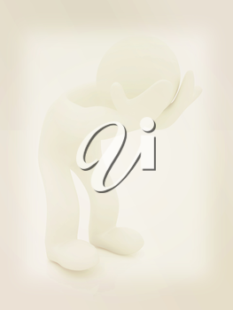 3d personage with hands on face on white background. Starting series: human emotions. 3D illustration. Vintage style.