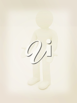 3d man isolated on white. Series: human emotions - indignation and perplexed. 3D illustration. Vintage style.
