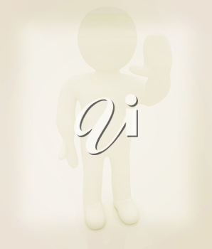 3d man isolated on white. Series: human emotions - greeting Hi. 3D illustration. Vintage style.