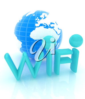 wifi earth icon. 3d illustration