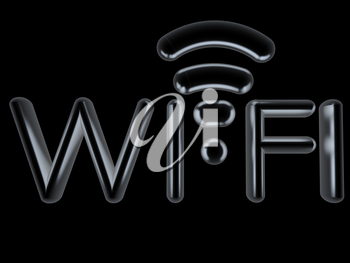 Metal WiFi symbol. 3d illustration