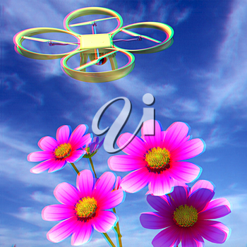 Drone, quadrocopter, with photo camera against the sky and Beautiful Cosmos Flower. 3D illustration. Anaglyph. View with red/cyan glasses to see in 3D.