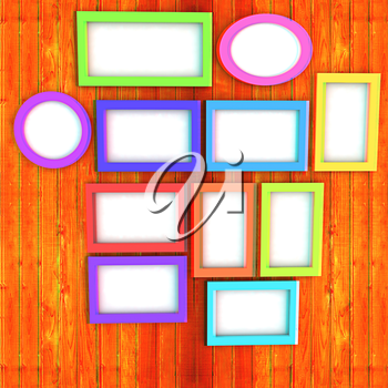 Mock up picture frames on wood wall. 3d illustration. Anaglyph. View with red/cyan glasses to see in 3D.