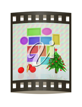 Set of Christmas and New Year frames and Christmas tree. 3D render. The film strip