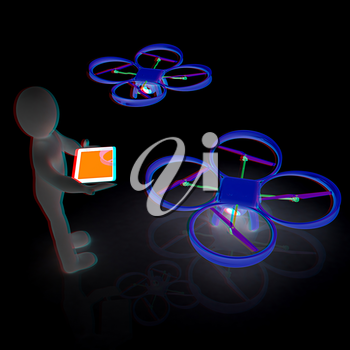 3d white people. Man flying a white drone with camera. 3D render. Anaglyph. View with red/cyan glasses to see in 3D.
