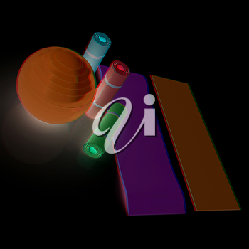 karemat and fitness ball. 3D illustration. Anaglyph. View with red/cyan glasses to see in 3D.