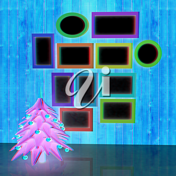 Mock up poster on the wood wall with christmas tree and decorations. 3d illustration. Anaglyph. View with red/cyan glasses to see in 3D.