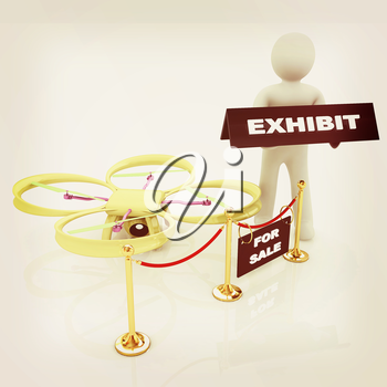 Drone, quadrocopter, with photo camera at the technical exhibition. 3d render