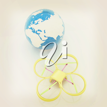 Quadrocopter Drone with Earth Globe and remote controller on a white background. 3d illustration