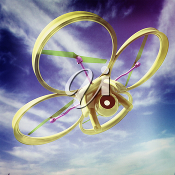 Drone, quadrocopter, with photo camera against the sky. 3D illustration