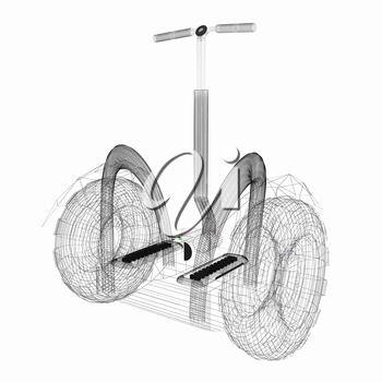 Mini electrical and ecological transport on a white background. 3D illustration.