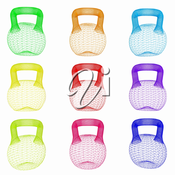 A set of sports items - weights. 3d illustration