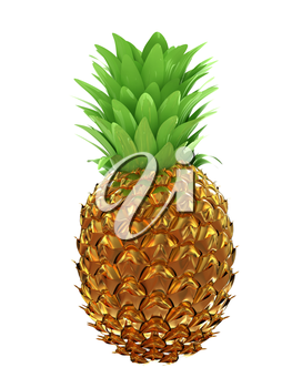 Pineapple in gold isolated on white background. 3d illustration