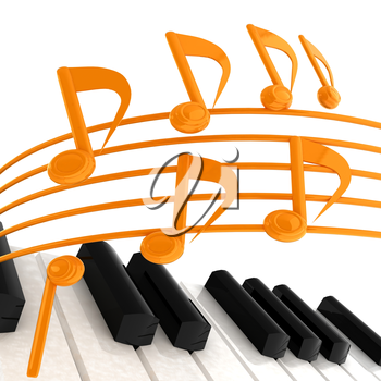 music notes  background. 3D illustration