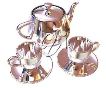 Chrome Teapot and mugs. 3d illustration