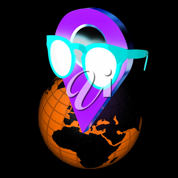 Glamour map pointer in sunglasses on Earth. 3d illustration