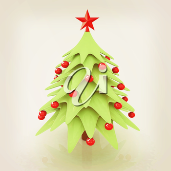 Christmas tree. 3d illustration. Vintage style
