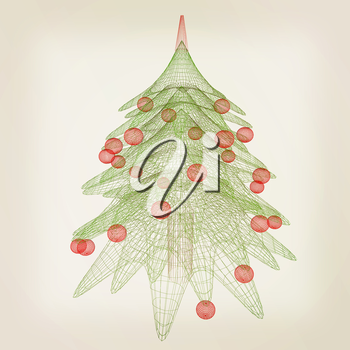 Christmas tree concept. 3d illustration. Vintage style