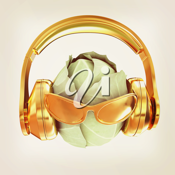 Green cabbage with sun glass and headphones front face on a white background. 3d illustration. Vintage style