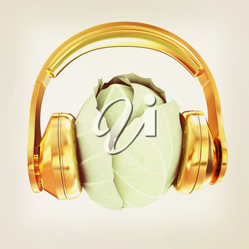 Green cabbage with headphones on a white background. 3d illustration. Vintage style