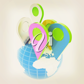 Planet Earth and map pins icon. Earth globe and colorful map labels. Modern graphic elements for web banners, websites, printed materials, infographics. 3d illustration.. Vintage style
