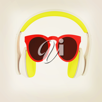 Sunglasses and headphone for your face. 3d illustration. Vintage style