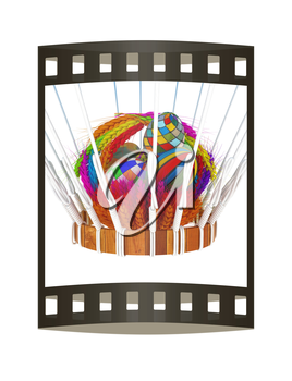 Hot Air Balloon with a basket of multicolored wheat and Easter eggs inside. 3d render