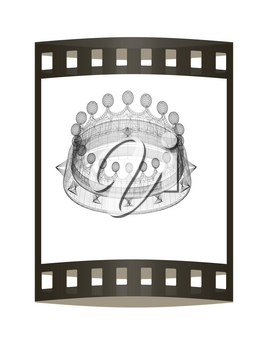 Crown. 3D illustration. The film strip.