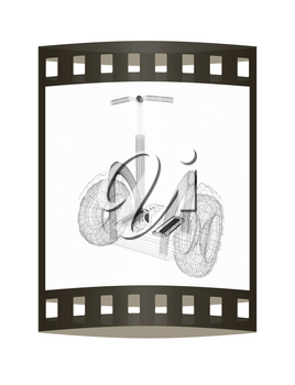 Mini electrical and ecological transport on a white background. 3D illustration.. The film strip.