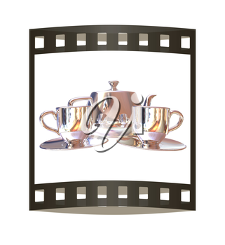 Chrome Teapot and mugs. 3d illustration. The film strip.