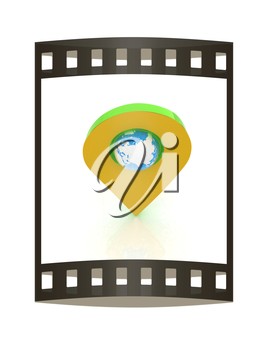 Realistic 3d pointer of map with Earth. Global concept. 3d illustration. The film strip.