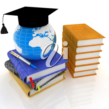 Global of Education concept with Earth, leather books, notebooks and graduation hat from above. 3d render