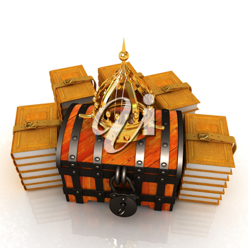 Gold crown on a chest and leather books around. 3d render