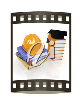 Hard hat and graduation hat on a leather books and notes. The concept of edication for work. 3d render. Film strip.