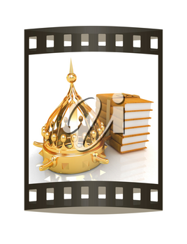 Gold crown and leather books. 3d render. Film strip.
