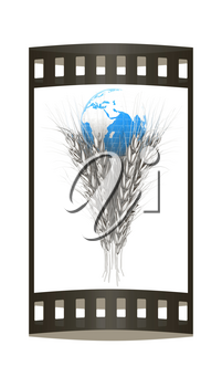 Metal ears of wheat and Earth. Symbol that depicts prosperity, wealth and abundance. 3d render. Film strip.