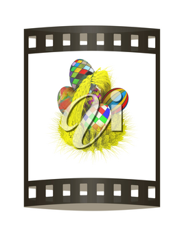 Colored basket of the ears of wheat with Easter eggs. 3d render. Film strip.