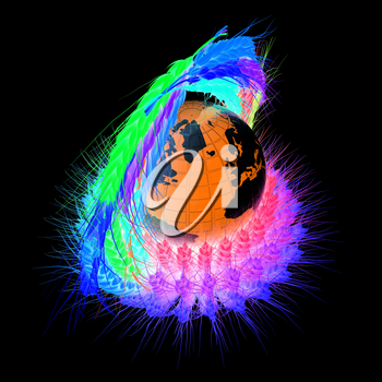 Colored basket of the ears of wheat. Global concept with ball globe Earth. 3d render. On a black background.