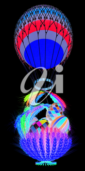 Hot Colored Air Balloon with a basket of multicolored wheat and Easter eggs inside. 3d render. On a black background.