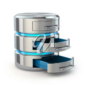 Database storage concept. Hard disk icon isolated on white. 3d