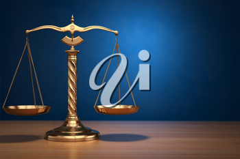 Concept of justice. Law scales on blue background. 3d