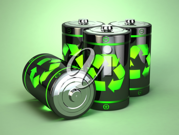 Green battery recycling concept. Eco background. 3d