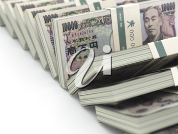 Row of japanese yen pack money  on white background.