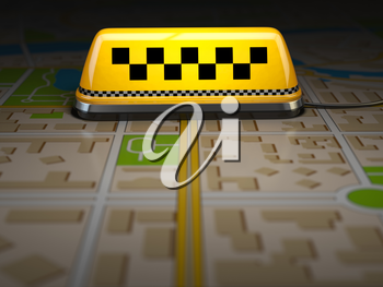 Taxi sign on the city map. Concept of taxi online service. Space for text. 3d