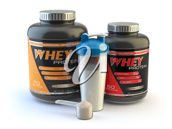 Sport nutrition, whey protein powder for bodybuilding with plastic jars and shaker isolated on white. 3d