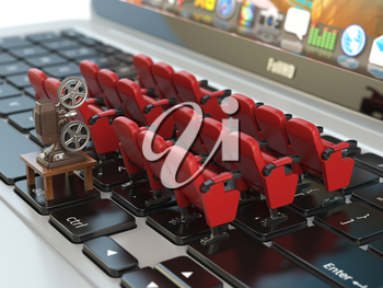 Video player application  or home cinema concept. Laptop and rows of cinema seats, 3d illustration