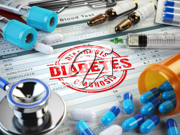Diabetes diagnosis. Stamp, stethoscope, syringe, blood test and pills on the clipboard with medical report. 3d illustration