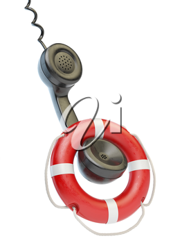 Help or support service concept. Telephone reciever and lifebouy isolated on white. 3d illustration