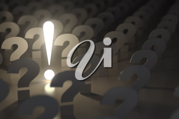 Question marks and exclamation sign. Idea or problem concept. 3d illustration
