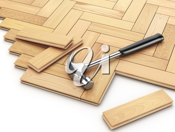 Laying hardwood parquet concept. Hammer on the floor. 3d illustration